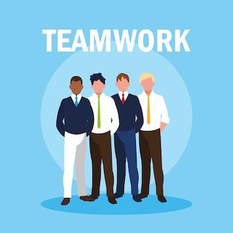 Lavoro di squadra con uomini d'affari eleganti