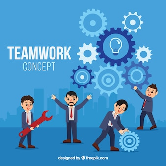 Lavoro di squadra con uomini d'affari felici