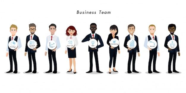 Lavoro di squadra del personaggio dei cartoni animati della donna di affari e dell'uomo d'affari