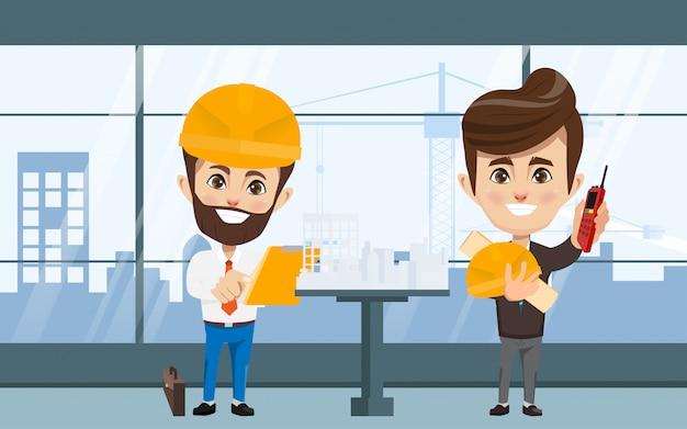Lavoro di squadra dell'industria di ingegneri e meccanici e tecnici.
