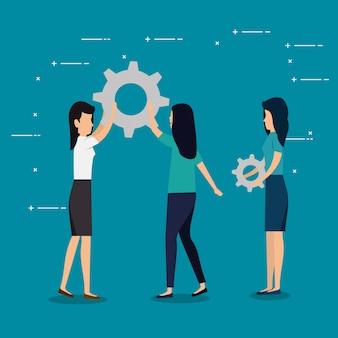 Lavoro di squadra delle donne d'affari con l'industria degli ingranaggi