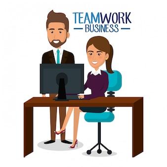 Lavoro di squadra delle persone di affari nell'illustrazione del posto di lavoro