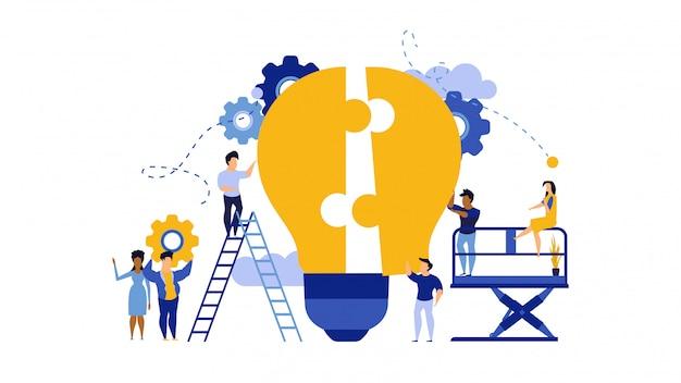Lavoro di squadra di affari che sviluppa l'illustrazione del lavoro di puzzle della lampadina.
