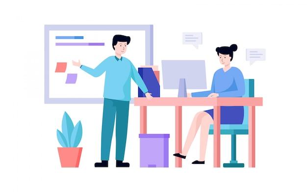 Lavoro di squadra di affari, pianificazione della squadra di affari e vettore dell'illustrazione di programmazione