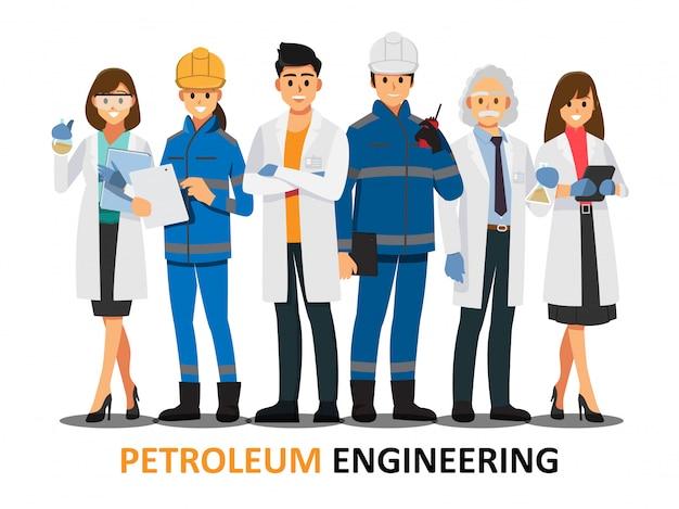 Lavoro di squadra di ingegneria del petrolio, personaggio dei cartoni animati dell'illustrazione di vettore.