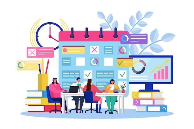 Lavoro di squadra di pianificazione aziendale, riunione minuscola della gente del fumetto, brainstorming insieme, strategia di ordine del giorno su bianco