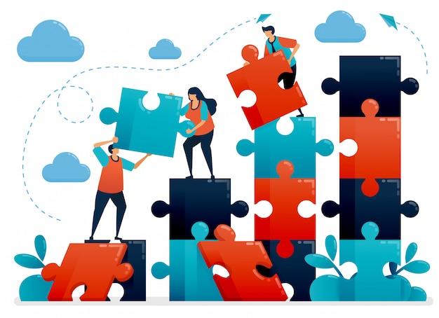 Lavoro di squadra e collaborazione risolvendo enigmi. le metafore comprendono il grafico commerciale. cooperare per l'azienda. sfide e problemi.