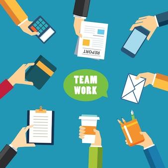 Lavoro di squadra e incontro design piatto concetto
