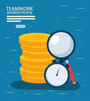 Lavoro di squadra e uomini d'affari disegno vettoriale