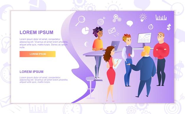 Lavoro di squadra in modello di vettore di banner web aziendale