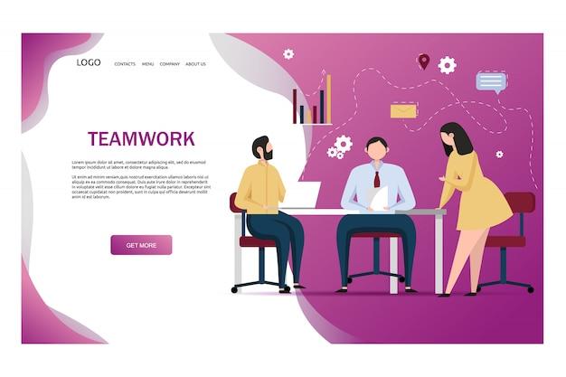 Lavoro di squadra in ufficio. tre persone lavorano insieme. lavoratori che incontrano la comunicazione dei caratteri dei colleghe. concetti di team building e partnership commerciali.