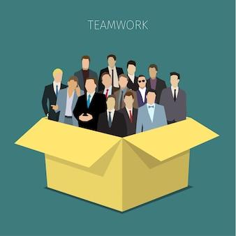 Lavoro di squadra in una scatola