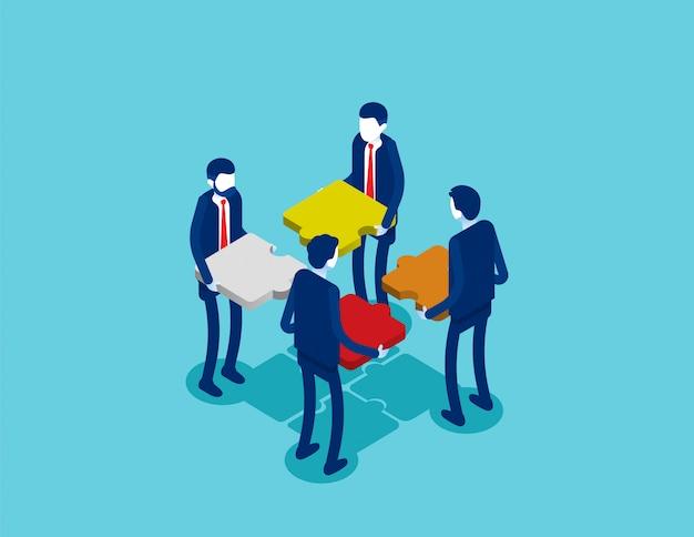 Lavoro di squadra isometrica di affari