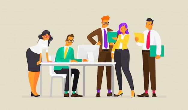 Lavoro di squadra. processo di lavoro di uomini d'affari, illustrazione in stile piano