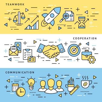 Lavoro di squadra, start up, icone di affari
