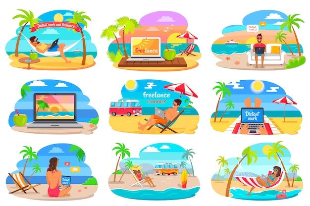 Lavoro distante e libero professionista sulla spiaggia durante l'estate