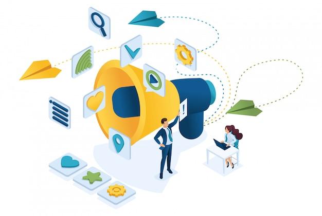 Lavoro e branding del team di marketing isometrico, tabellone per le affissioni e pubblicità, strategie di marketing.