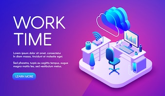 Lavoro e cloud illustrazione internet di ufficio intelligente o posto di lavoro con connessione router.
