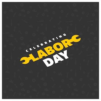 Lavoro happy day creativo tipografia su un pattern di sfondo nero