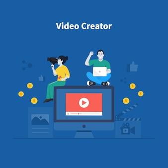Lavoro maschile e femminile con strumenti tecnologici per creare contenuti video.