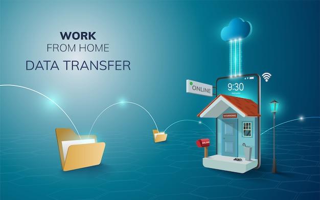 Lavoro online digitale dal backup della nuvola di trasferimento dati di casa sullo sfondo del sito web mobile del telefono. concetto di distanza sociale. illustrazione