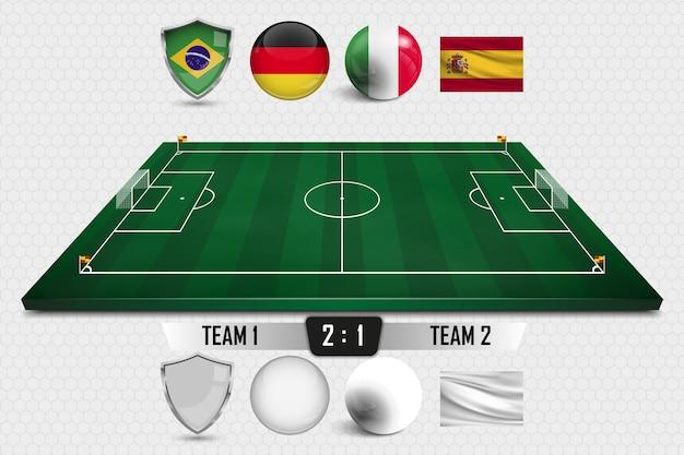 Layout campo da calcio con marcatura.