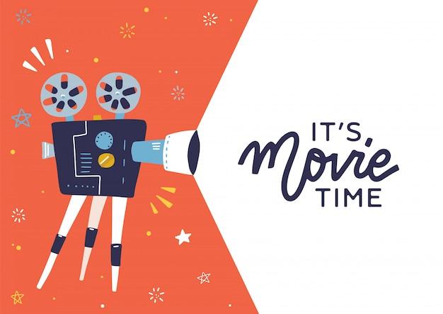 Layout del concetto di tempo del film alla moda con proiettore cinematografico e area di testo con citazione elettronica: è l'ora del film. fantastico modello di poster, depliant o banner del cinema con proiettore retrò dettagliato con bobine di film.