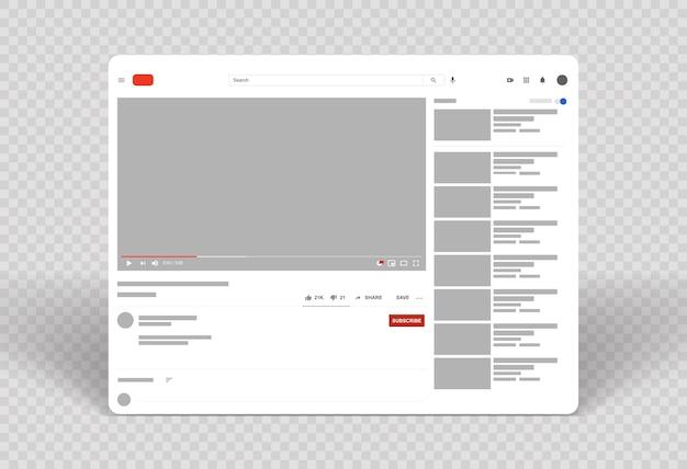 Layout del lettore video web fotogramma video modello