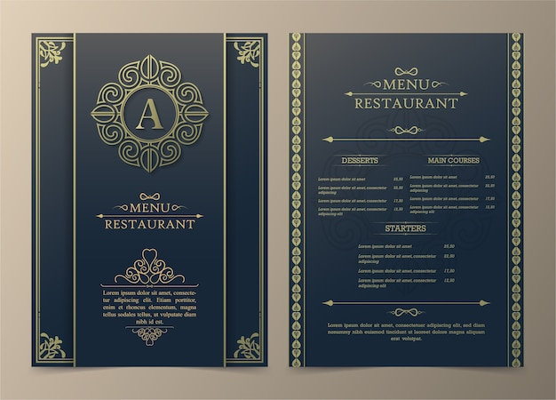 Layout del menu con elementi ornamentali.
