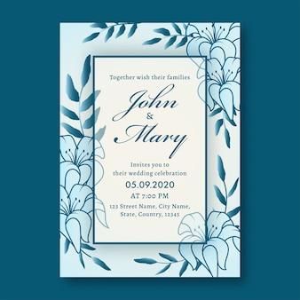 Layout del modello di scheda dell'invito di nozze decorato con fiori di giglio e dettagli del luogo.