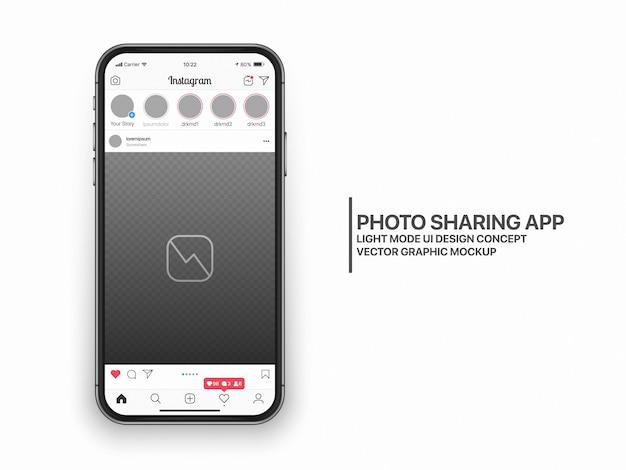 Layout del modello ux dell'interfaccia utente del social media mockup