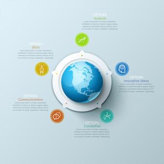 Layout design creativo infografica con globo al centro, 5 frecce che puntano a elementi circolari e caselle di testo