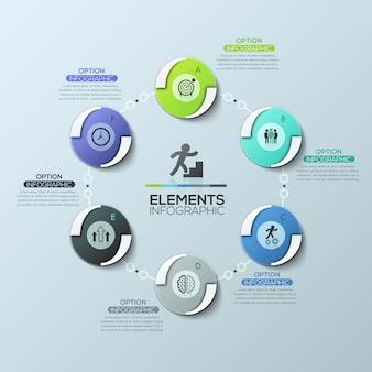 Layout design creativo infografica, diagramma circolare con 6 elementi circolari collegati da catena, pittogrammi e caselle di testo