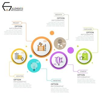Layout design moderno infografica, 6 elementi rotondi con pittogrammi
