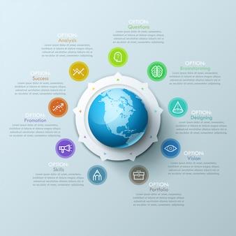 Layout di bel design infografico con sfera al centro, 8 frecce che puntano a simboli di linea e caselle di testo