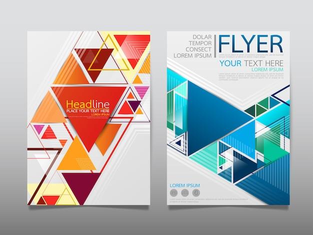 Layout di brochure aziendale di copertina modello blu e rosso.