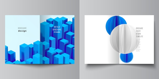 Layout di due modelli di copertina a4. 3d rendono la composizione con le forme blu geometriche realistiche dinamiche nel moto.