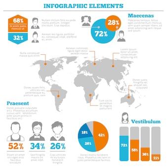 Layout di elementi infographic avatar