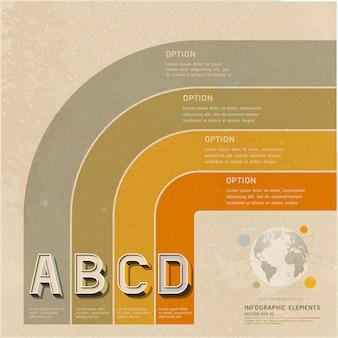 Layout di flusso di lavoro opzioni retrò colore, diagramma, infografica.