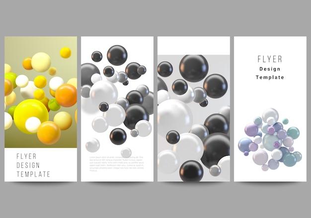 Layout di flyer, modelli di banner per la progettazione di siti web pubblicitari, design di volantini verticali, decorazione di siti web. astratto sfondo futuristico con sfere colorate 3d, bolle lucide, palle.