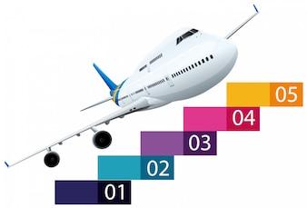 Layout di infografica con aereo