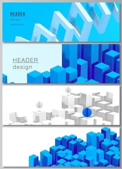 Layout di intestazioni, modelli di banner per la progettazione di piè di pagina del sito web, design volantino orizzontale, sfondi di intestazione del sito web. 3d rendono la composizione con le forme blu geometriche dinamiche nel moto.