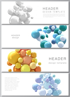 Layout di intestazioni, modelli di banner per la progettazione di piè di pagina di siti web, progettazione di volantini orizzontali, sfondi di intestazioni di siti web. sfondo realistico con sfere 3d multicolori, bolle, palle.
