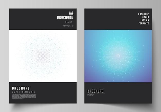 Layout di modelli di copertina moderna in formato a4 per brochure, riviste, flyer, libretto, report. visualizzazione di big data, sfondo di comunicazione geometrica con linee e punti collegati
