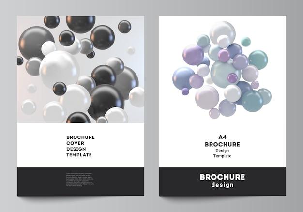 Layout di modelli di mockup di copertina a4 per brochure, layout flyer, libretto, design di copertina, design di libri. astratto sfondo futuristico con sfere colorate 3d, bolle lucide, palle.