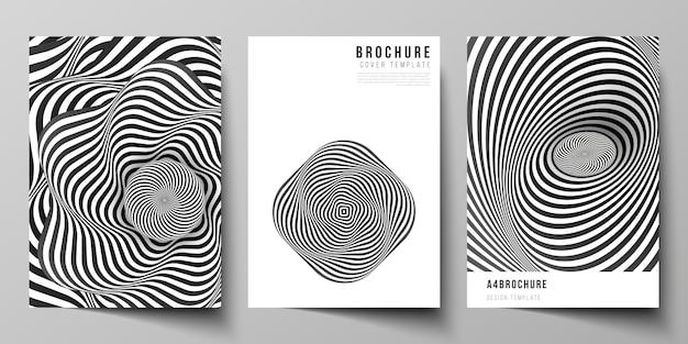 Layout di moderni modelli di copertina in formato a4 per brochure, 3d astratto geometrico