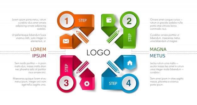 Layout di presentazione aziendale, infografica flusso di lavoro sfondo della timeline