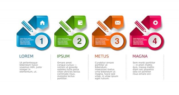 Layout di presentazione aziendale, insieme di sfondo infografica flusso di lavoro della timeline.