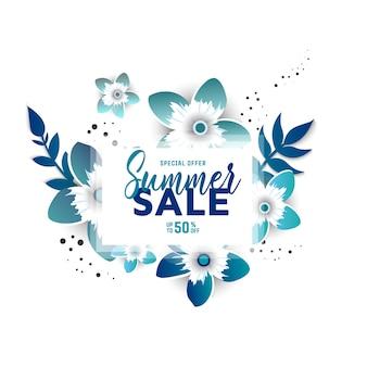 Layout di sfondo estate vendita per banner con fiori