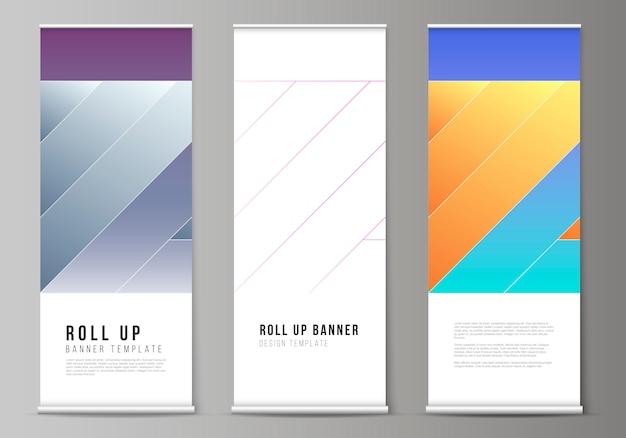 Layout di supporti per banner roll up, volantini verticali